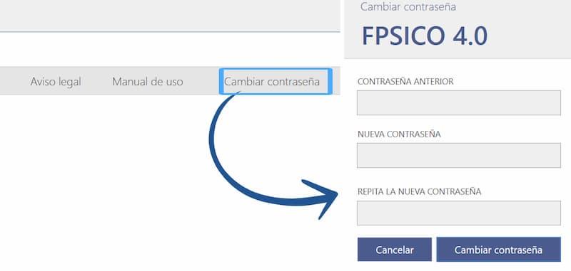 imagen donde se puede ver dónde hay que acceder para cambiar la contraseña del programa FPSICO 4.0