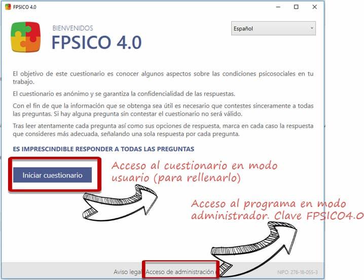 Entrar al FPSICO 4.0 en modo administrador, clave de acceso: TUTORIAL FPSICO4