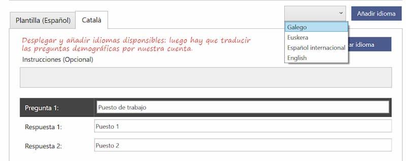 explicación de cómo traducir el cuestionario a otros idiomas