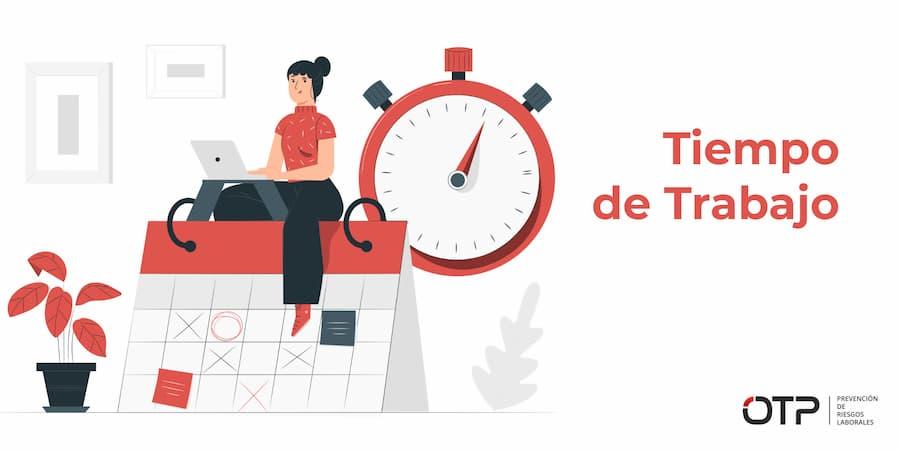 Factores de tiempo psicosocial: Tiempo de Trabajo. Mujer encima trabajando con un calendario y un reloj.